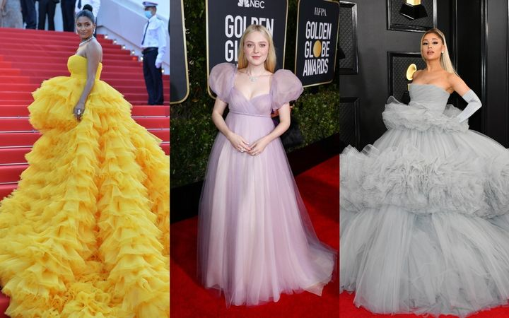 Farhana Bodi (left), Dakota Fanning and Arianna Grande are among the celebrities who've graced red carpets with their princess gowns.