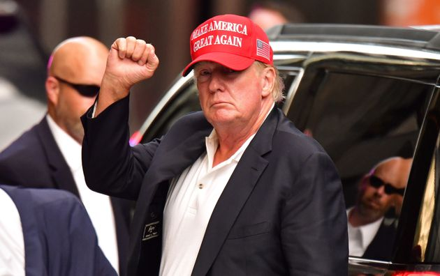 Former U.S. President Donald Trump arrives at Trump Tower in Manhattan on August 15, 2021 in New York