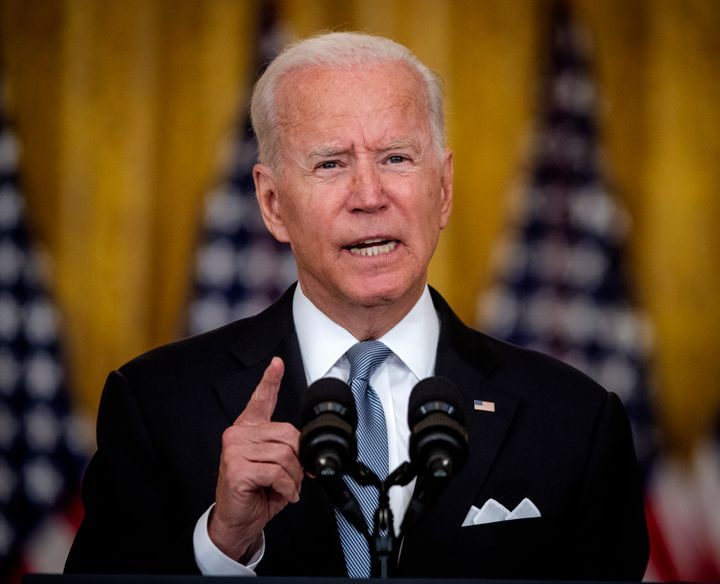 President Joe Biden delivers remarks on the situation in Afghanistan in the East Room of the White House.