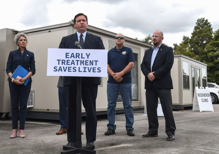 Florida Gov. Ron DeSantis holds a press conference to announce the opening of a monoclonal antibody treatment site to help COVID-19 patients recover at Camping World Stadium in Orlando.