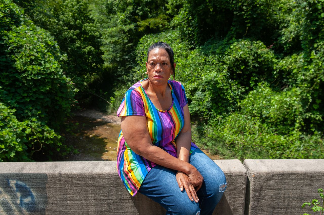 Gas victim Thelma Brown in July, near the site where two of her sons and one of her nephews were rescued in Satartia.<br><strong>Rory Doyle for HuffPost</strong>
