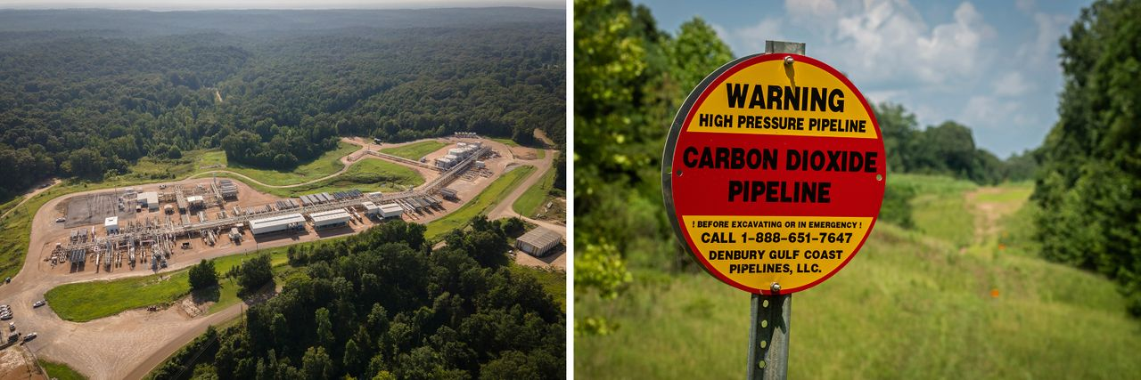 Left: The Tinsley oil field in Tinsley, Mississippi, on July 23, 2021. Right: A CO2 gas pipeline remains active in Satartia, Mississippi, that same day.<br><strong>Rory Doyle for HuffPost</strong>