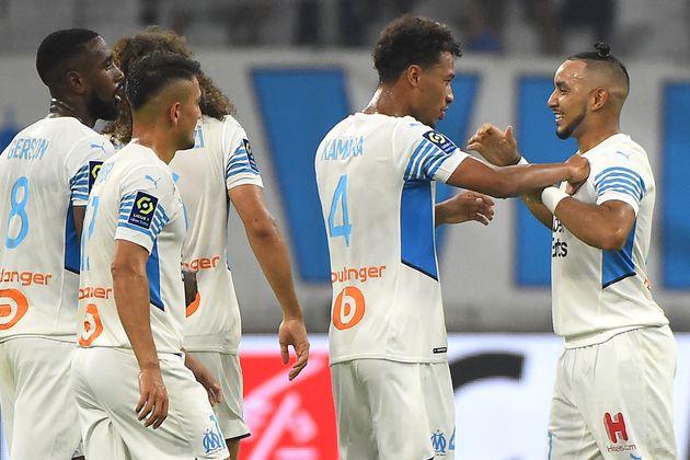 Dimitri Payet et l'équipe de l'OM lors d'un match de L1 contre les Girondins de Bordeaux, le 15...