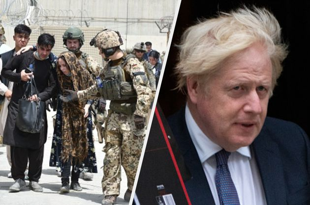 Soldiers helping a woman in Afghanistan and prime minister Boris