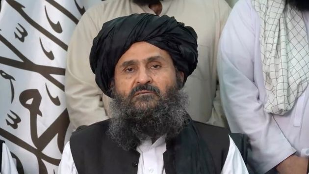 Mullah Baradar Akhund, a senior official of the Taliban, makes a video statement, in a still image taken from a video recorded in an unidentified location and released on August 16, 2021. Social Media/via REUTERS THIS IMAGE HAS BEEN SUPPLIED BY A THIRD PARTY.