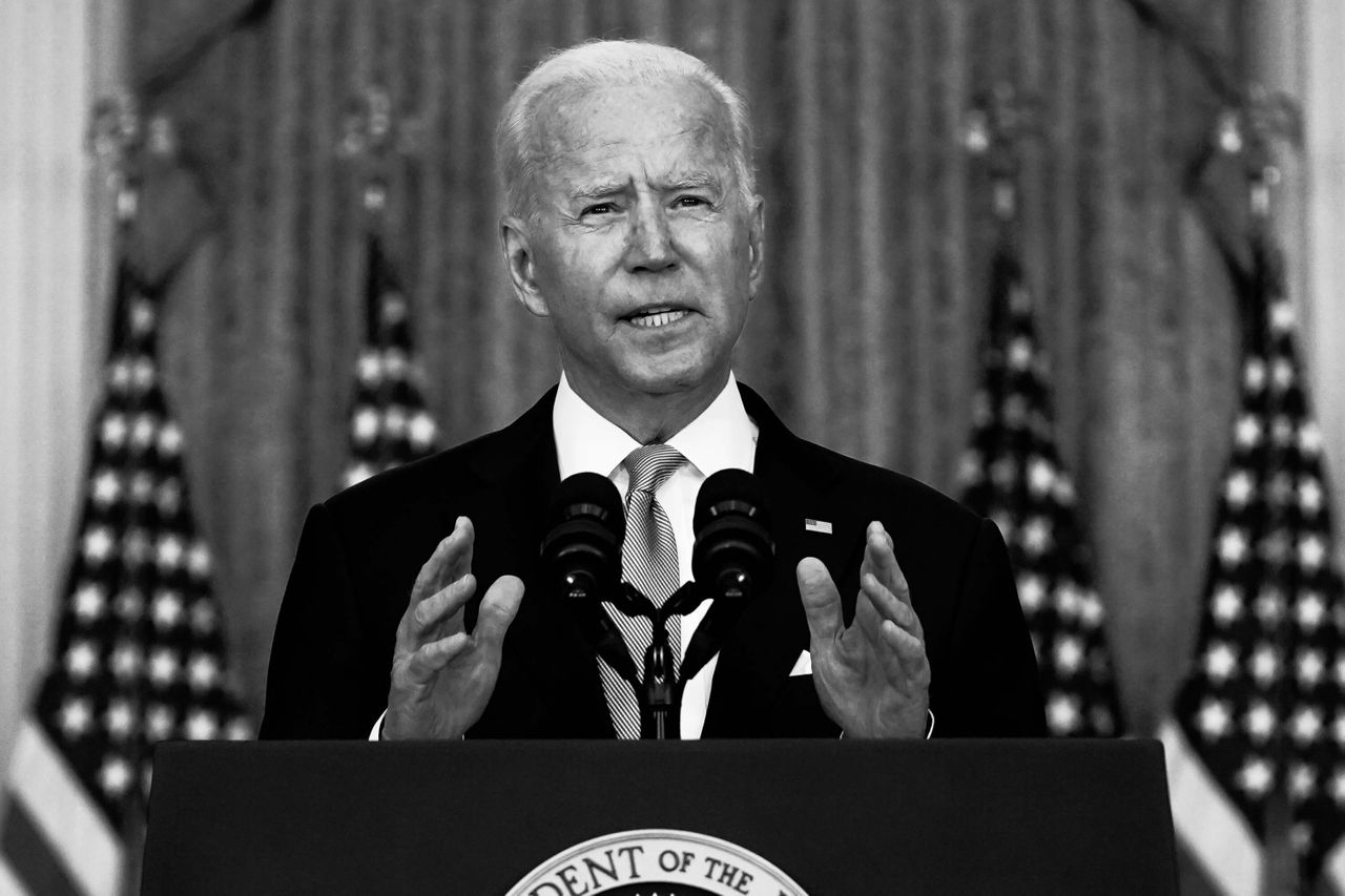 President Joe Biden speaks about Afghanistan from the East Room of the White House on Monday.