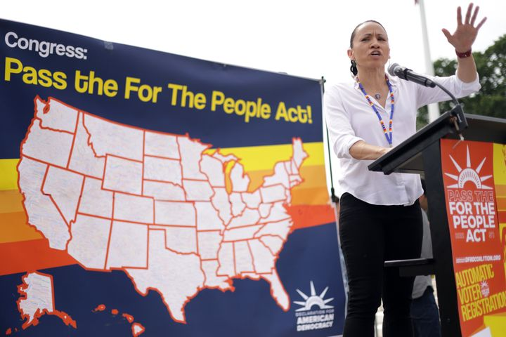 Rep. Sharice Davids (D-Kan.), a member of the Ho-Chunk Nation, introduced the Native American Voting Rights Act with Rep. Tom