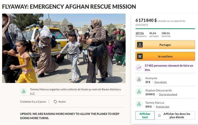La page GoFundMe de l'appel au don pour l'évacuation de civils