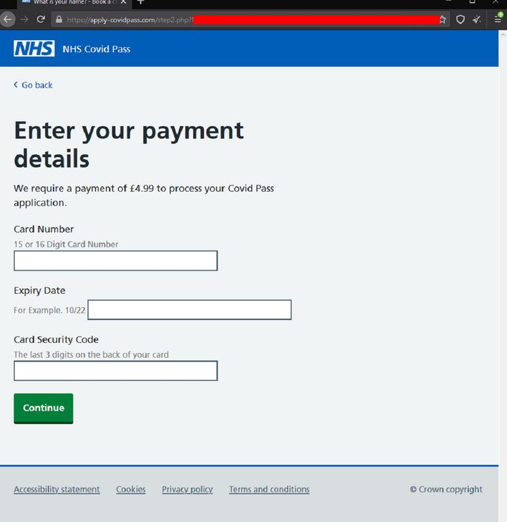 The fraudulent website has been designed to look identical to an official NHS page