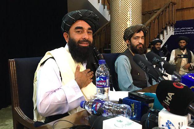 Taliban spokesperson Zabihullah Mujahid during the Taliban's first press