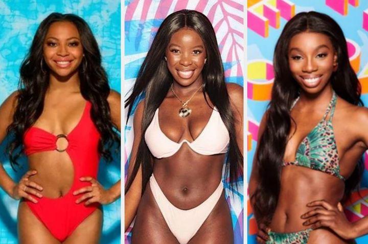 Love Island contestants Samira Mighty, Kaz Kamwi and Yewande Biala.