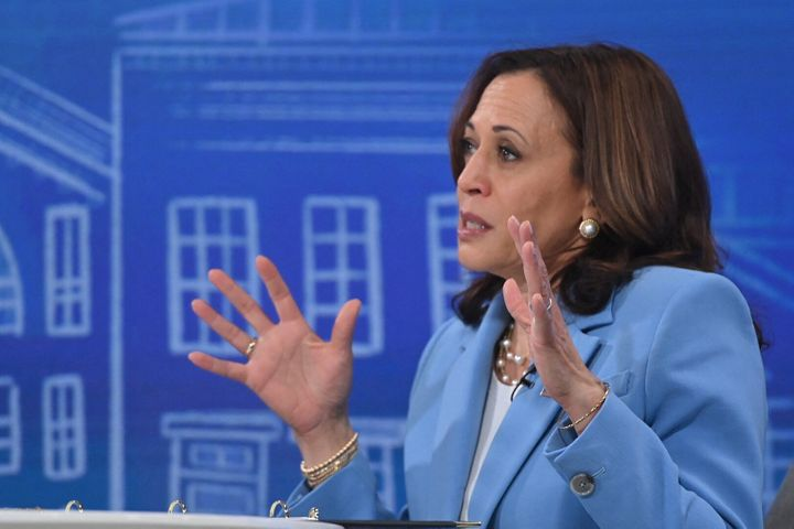 Vice President Kamala Harris speaks virtually to small business owners from the South Court Auditorium of the White House in Washington, DC, on July 29, 2021.