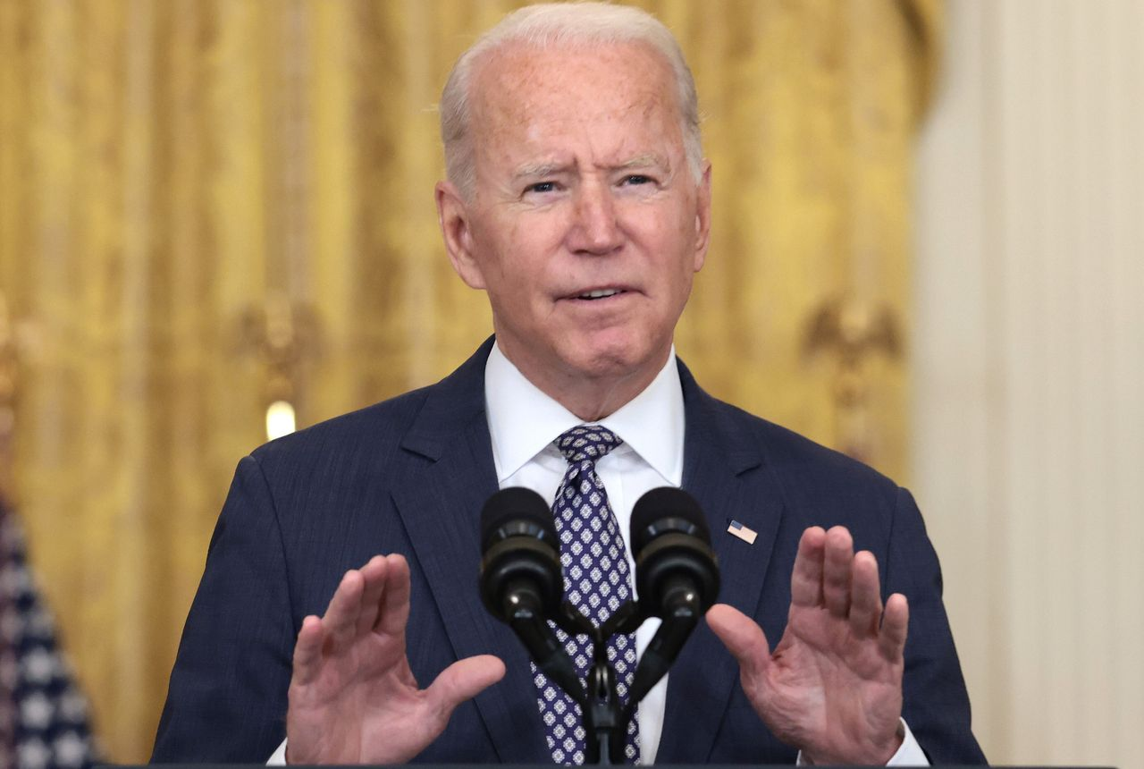 President Joe Biden addresses reporters at the White House on Friday. He tried to dispel the idea that low U.S. casualties in recent years was a reason to keep troops in Afghanistan.