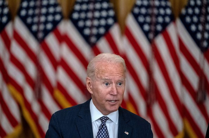 U.S. President Joe Biden responds to questions about the ongoing US military evacuations of U.S. citizens and vulnerable Afghans on Aug. 20.