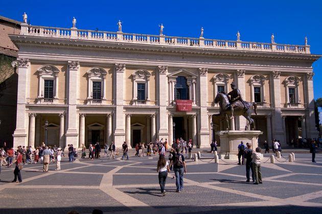 Exterior of the Capotolini Museum with the Imperial Roman equestrian statue of Marcus Aurelius.