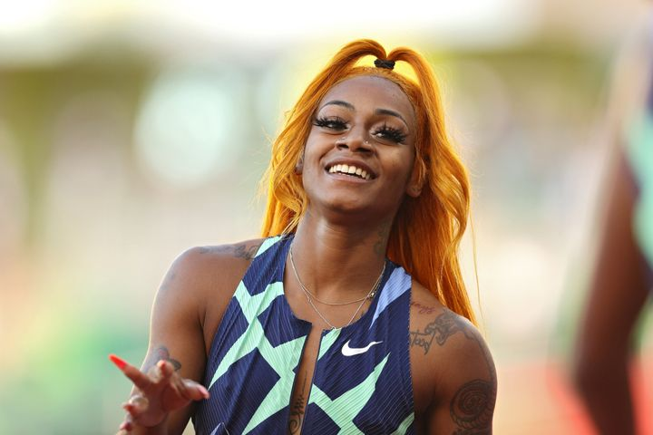 Sha'Carri Richardson after winning the Women's 100-meter final during the U.S. Olympic trials in Eugene, Oregon, ahead of the Tokyo Olympics.