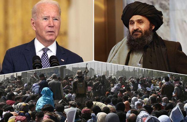 Il presidente Usa Joe Biden, il leader talebano Mullah Abdul Ghani Baradar, la folla che si accalca all'aeroporto di Kabul