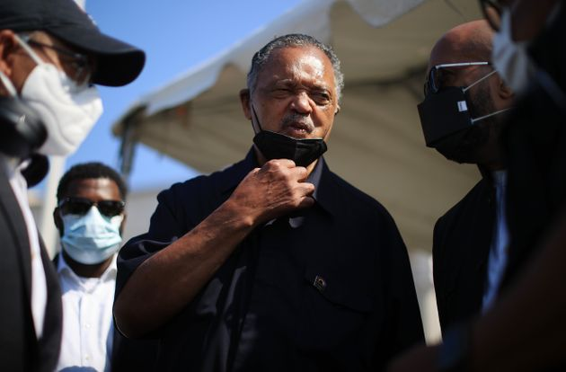WASHINGTON, DC - AUGUST 02: Civil Rights leader Rev. Jesse Jackson talks with supporters before a Poor...