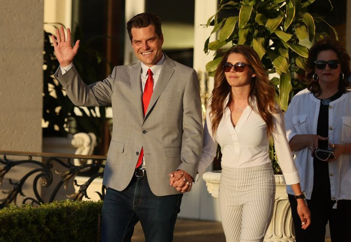 Rep. Matt Gaetz is seen with his then-girlfriend, Ginger Luckey, at the Trump National Doral golf resort in Doral, Florida on April 09.