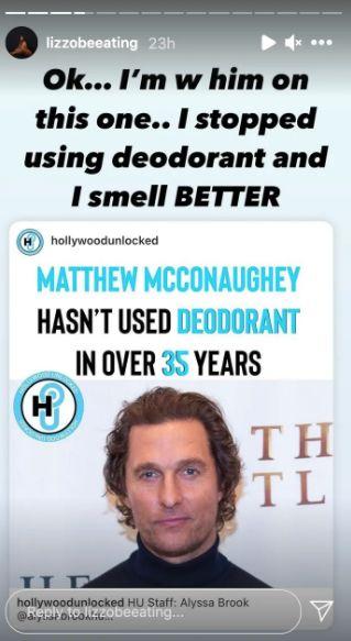 Comme Matthew McConaughey, Lizzo ne met plus de déo et s'en porte très