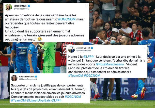 Après les violents incidents survenus durant le match entre Nice et Marseille, de nombreux élus de Marseille...