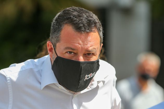 CASERTA, ITALY - 2021/08/10: The political leader of the Lega party, Matteo Salvini (with a mask to protect himself from Covid-19), visiting the