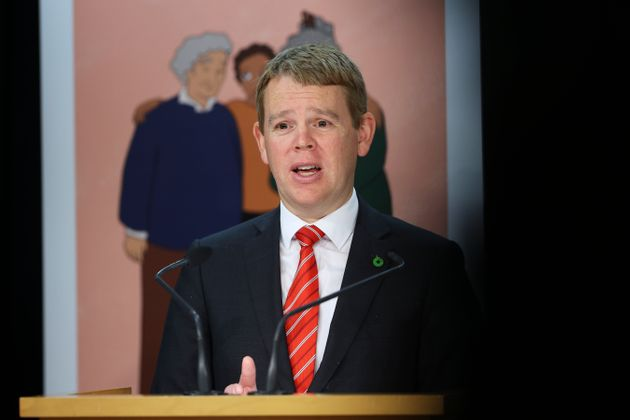 Minister for COVID-19 Response Chris Hipkins speaks to media during a press conference at Parliament...