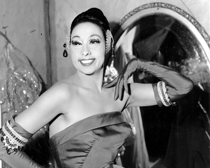 In this file photo dated March 6, 1961, singer Josephine Baker poses in her dressing room at the Strand Theater in New York.