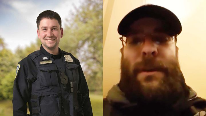 Officer Jeffrey Smith, left, was assaulted on Jan. 6 during a battle at the U.S. Capitol that is believed to have involved the man on the right.