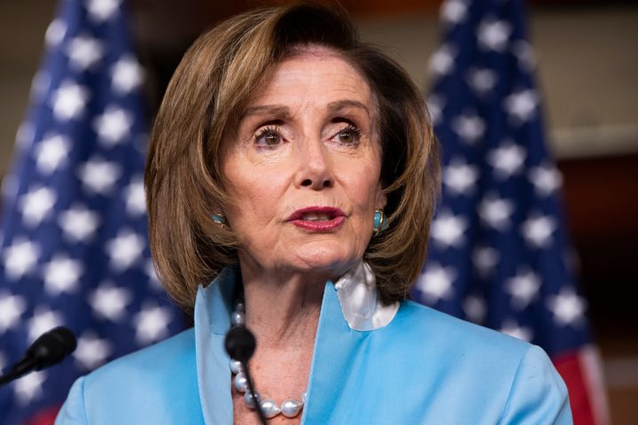 House Speaker Nancy Pelosi is staring down a small group of centrist Democrats ahead of key votes on the party's agenda