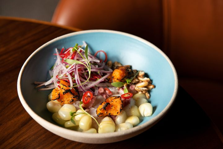 Ceviche Clásico from Popular, featuring snapper, octopus, red onion and cilantro.