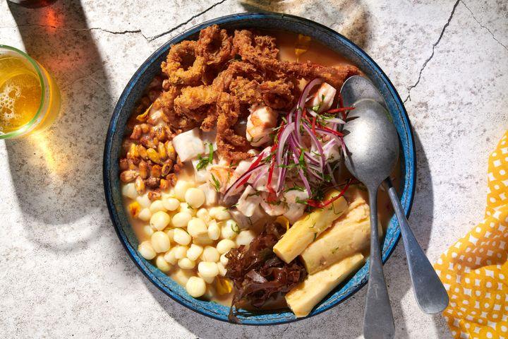 Cebiche Carretillero from Chica, made with fresh sea bass, shrimp, fried calamari, sweet potatoes, corn and rocoto leche de tigre.