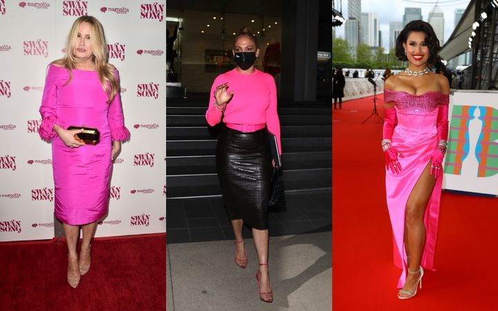 Celebrities have sported bright pink on red carpets, runways and city streets.