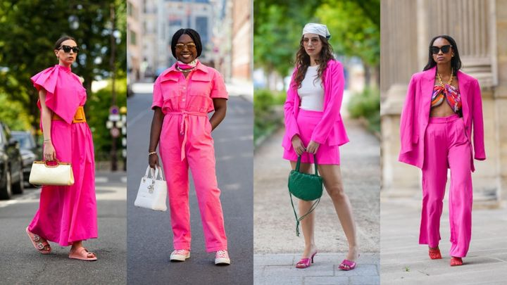 There are many ways to sport this bright pink trend -- from pantsuits to shorts to full monochrome looks.