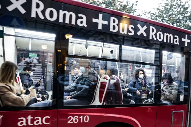 Rome. passengers with masks. on public transport. during the pandemic. In the photo passengers on an bus. (Photo by: Cristiano Minichiello/AGF/Universal Images Group via Getty Images)