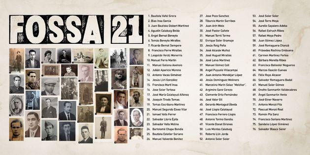 Todos los nombres de los enterrados en la fosa común 21 de