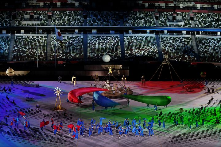 Entertainers perform during the opening ceremony of the Tokyo 2020 Paralympic Games at the Olympic Stadium on Aug. 24, 2021.