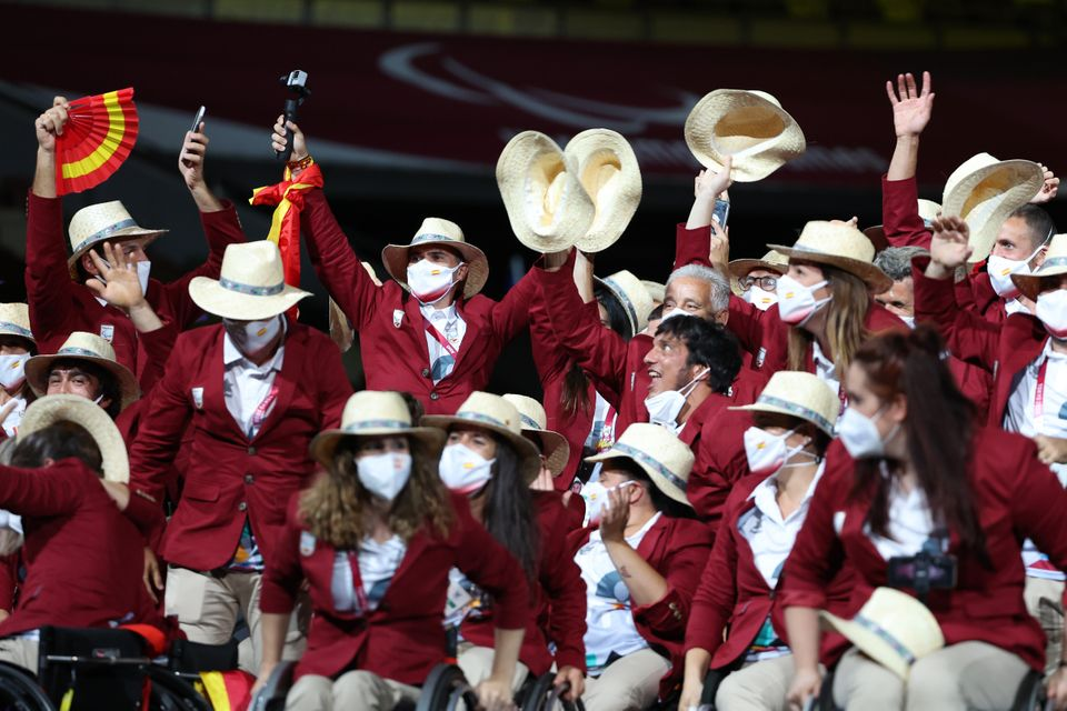 Athletes from Team Spain take part in the parade of athletes during the opening ceremony of the Tokyo...