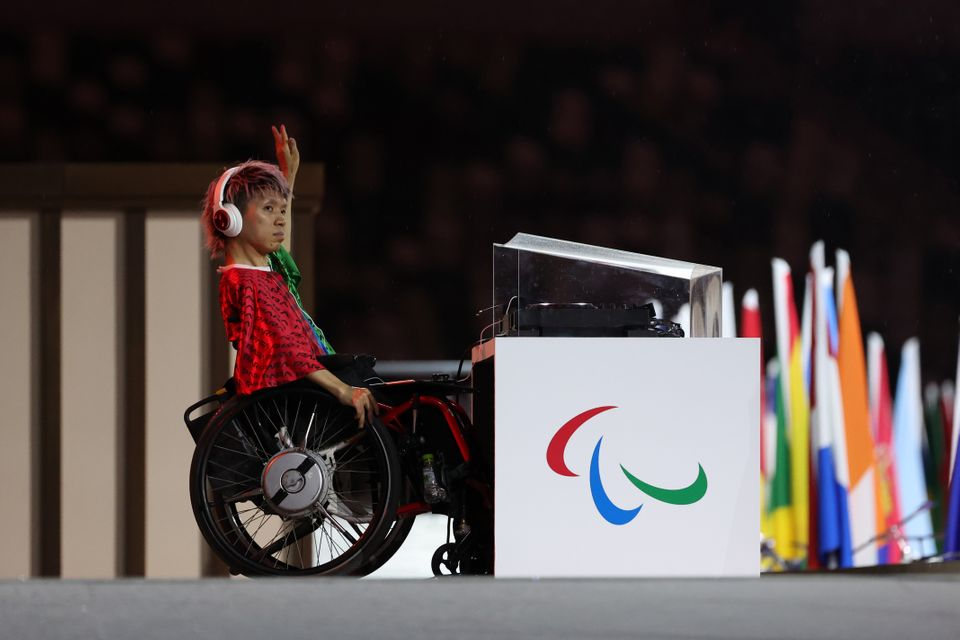 An entertainer performs during the opening ceremony of the Tokyo 2020 Paralympic