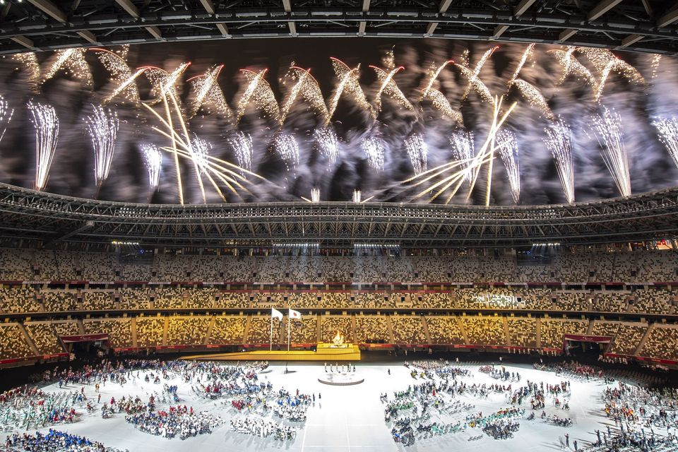 Fireworks explode during the opening ceremony for the Tokyo 2020 Paralympic Games at the Olympic Stadium...