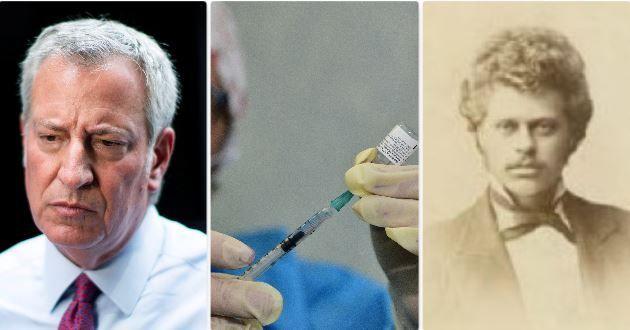 Il sindaco di New York de Blasio - la preparazione di una dose di vaccino - il pastore Henning Jacobson che rifiutò il vaccino contro il vaiolo. Una storica sentenza della corte Suprema dichiarò lecito l'obbligo
