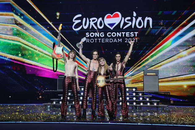 Italy's Maneskin pose for pictures on stage with the trophy after winning the final of the 65th edition of the Eurovision Song Contest 2021, at the Ahoy convention centre in Rotterdam, on May 22, 2021. (Photo by Kenzo Tribouillard / AFP) (Photo by KENZO TRIBOUILLARD/AFP via Getty Images)