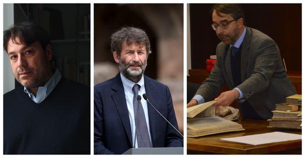 Da sinistra Tomaso Montanari, Dario Franceschini e Andrea De Pasquale