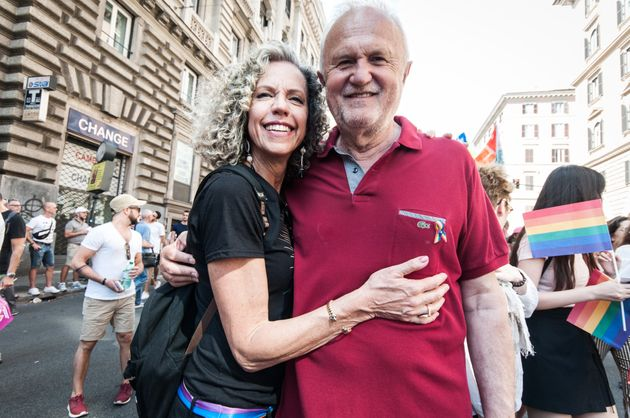 Monica Cirinnà with Esterino Montino attend a gay pride parade as part of ''Roma Pride 2018'' on June 9, 2018 in Rome, Italy. (Photo by Andrea Ronchini/NurPhoto via Getty Images)
