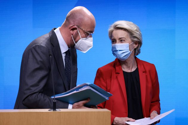 European Council President Charles Michel speaks with European Commission President Ursula von der Leyen after a press conference at the end of a virtual G7 summit to discuss the crisis in Afghanistan at The European Council Building in Brussels, on August 24, 2021. - An emergency meeting of the G7 leaders agreed that the Taliban will be held accountable for its actions in Afghanistan on protecting women's rights and preventing terrorism. (Photo by Kenzo TRIBOUILLARD / AFP) (Photo by KENZO TRIBOUILLARD/AFP via Getty Images)