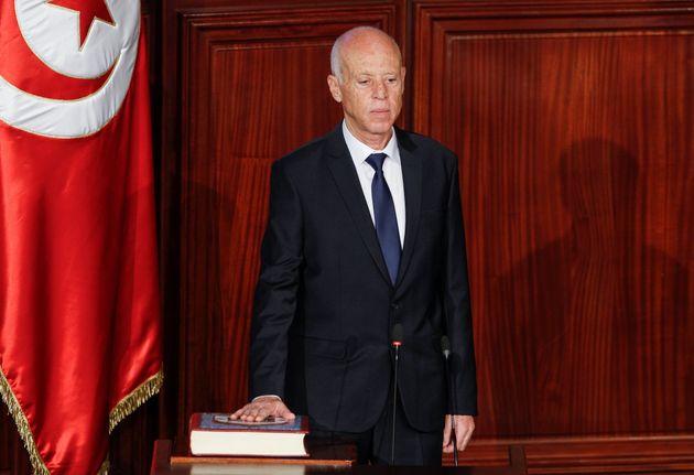 Photo d'illustration du président tunisien Kais Saied lors de sa prestation de serment le 23 octobre...