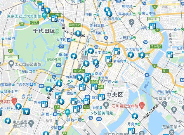 東京駅周辺の充電スポット(日産HPより)