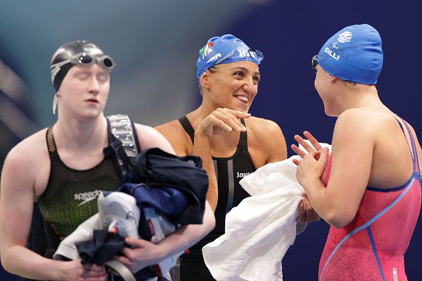 TOKYO, JAPAN - AUGUST 25: Carlotta Gilli (R) and Alessia Berra of Team Italy celebrate after competing in the women's 100m Butterfly - S14 final on day 1 of the Tokyo 2020 Paralympic Games at Tokyo Aquatics Centre on August 25, 2021 in Tokyo, Japan. (Photo by Adam Pretty/Getty Images)