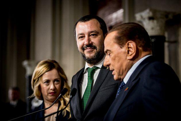 12/04/2018 Roma,Quirinale, secondo giro di consultazioni per la formazione del nuovo governo,la delegazione del Centro Destra nella foto Silvio Berlusconi,Giorgia Meloni e Matteo Salvini