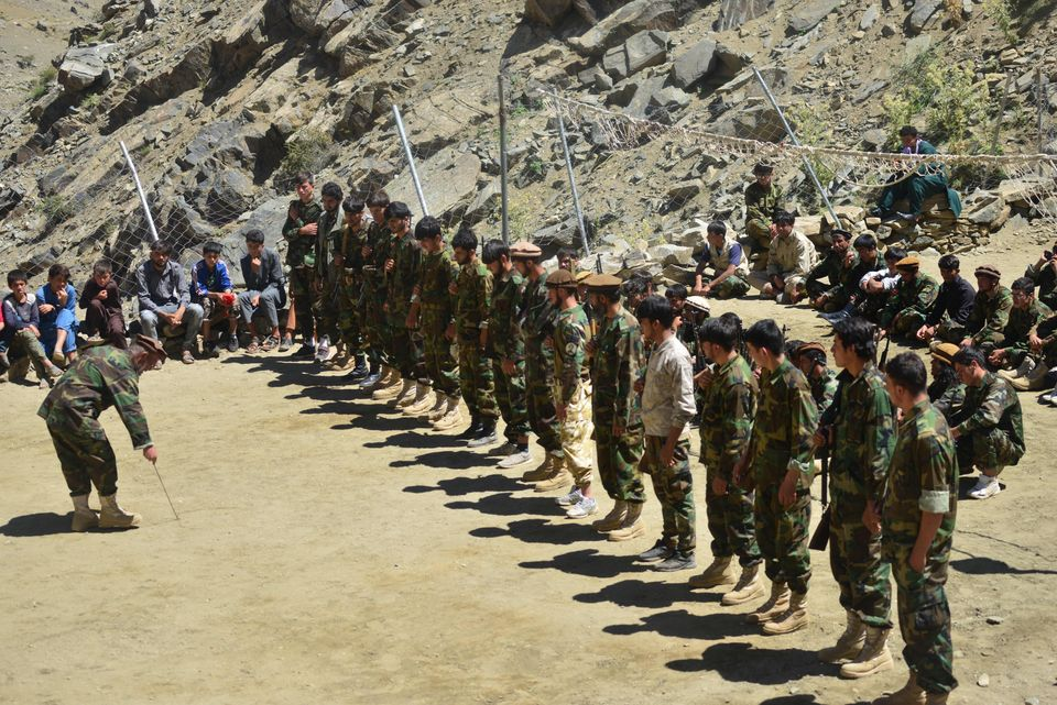 Afghan resistance movement and anti-Taliban uprising forces take part in military training at the Abdullah...